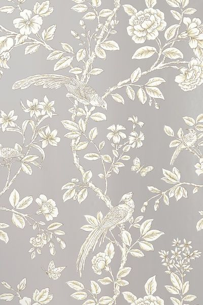 Named after a Persian Princess, Soraya is a delicate Chinoiserie with sincere reflections of Asian styled art. The sketch-like brush strokes of this soft scene are simple yet detailed, allowing the floral vines to ascend. Featured here in #metallic #silver from the Shang-ri La collection. #Thibaut