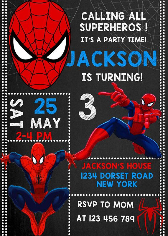 Spiderman Invitation Spiderman Kids Boys Girls Birthday