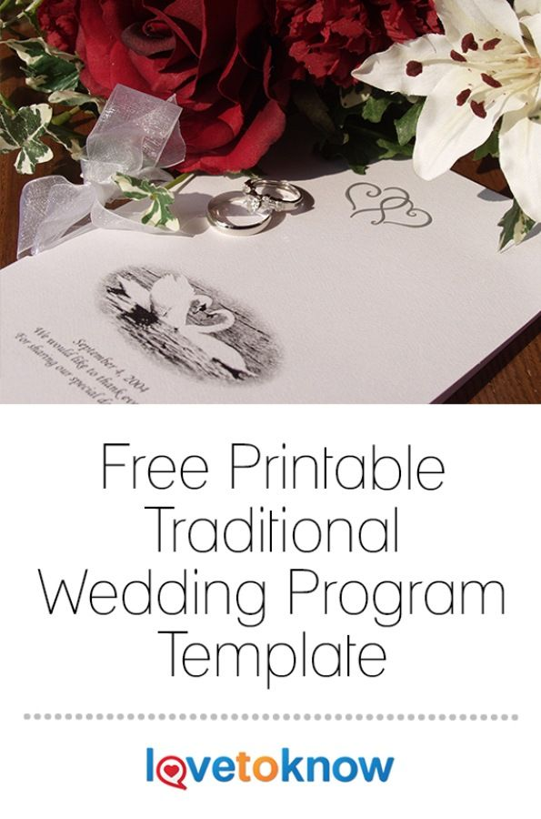 Guests who attend your wedding will want to know what's going on and who is involved in the ceremony. The traditional way to share this information is to use a wedding program that outlines your order of service, bridal party members, and any other notes. | Free Printable Traditional Wedding Program Template from #LoveToKnow