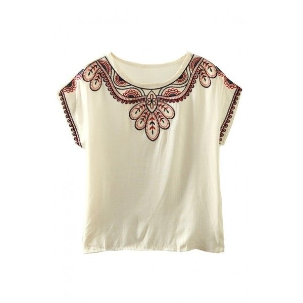 Round Neck Tribal Embroidery Batwing Short Sleeve Blouse ($9.73) ❤ liked on Polyvore featuring tops, blouses, batwing shirt, batwing top, short sleeve tops, embroidery blouse and tribal print shirt