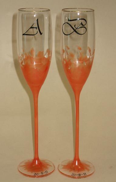 Copas de champan para brindar, con iniciales personalizadas