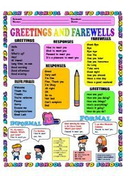 English worksheet: GREETINGS AND FAREWELLS 1/3 (INTRODUCTIONS) B/W version included