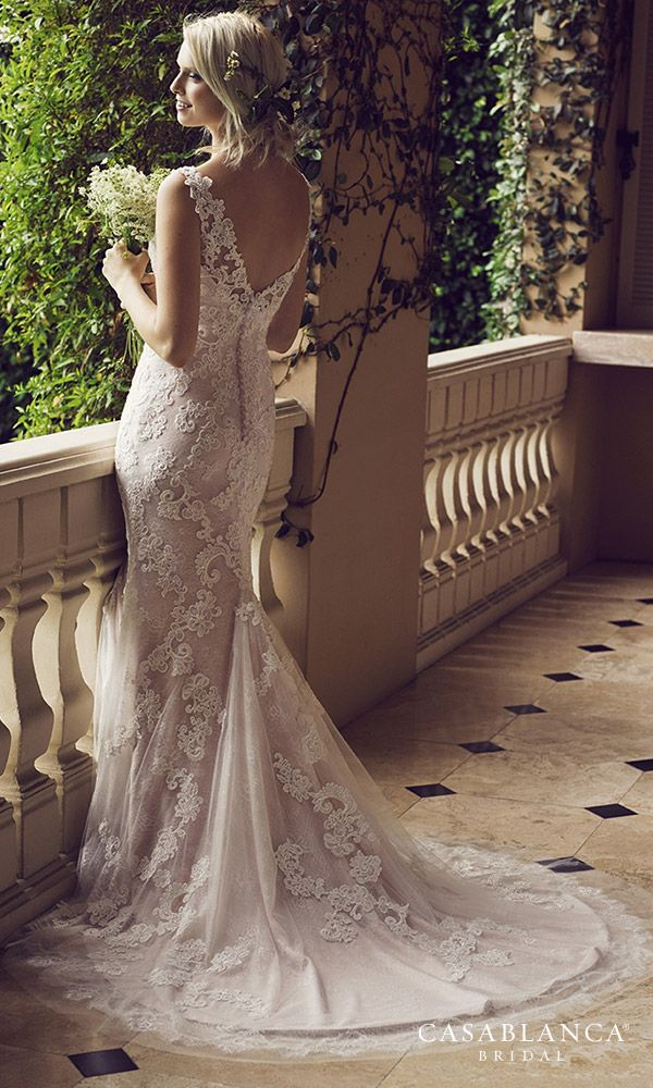 """GOWN OF THE WEEK: @CasablancaBride """"Belladonna"""", a fit and flare wedding dress…"""