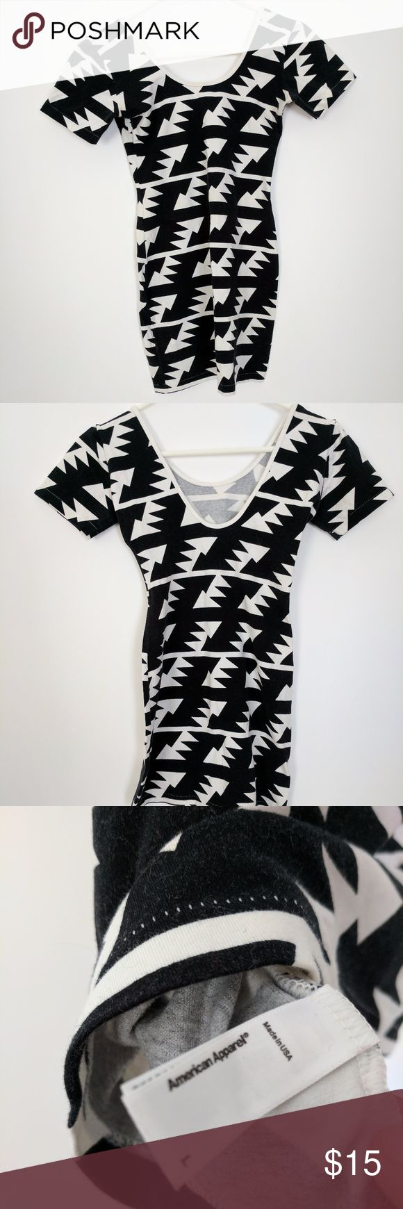 American Apparel Aztec Bodycon Dress Size L EUC Form-fitting American Apparel dress in a bold black and white graphic 'aztec' print. Label says size large, but like most AA items, this seems to run small. American Apparel Dresses Mini