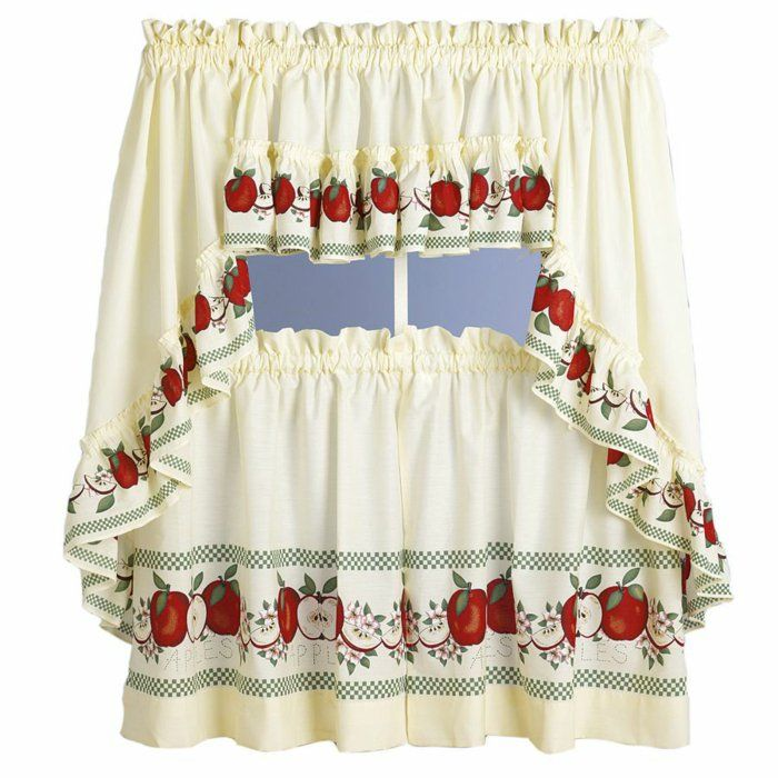 Kitchen Curtains Apple Design Beige