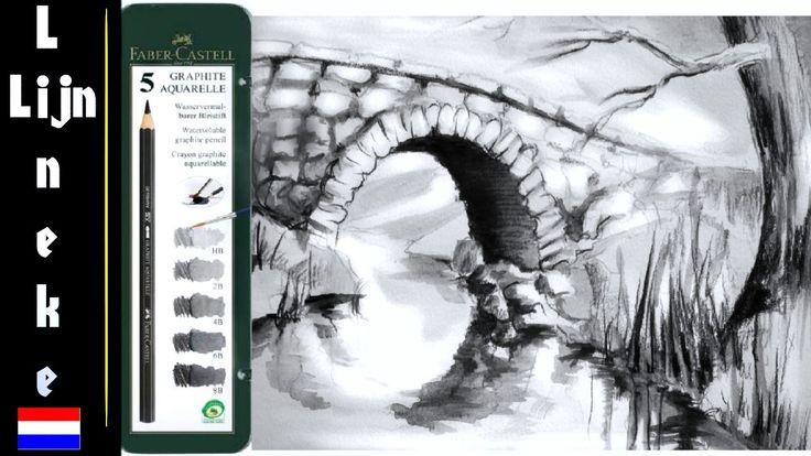 Hoe teken je een brug met aquarel potloden / landschappen en perspectief...