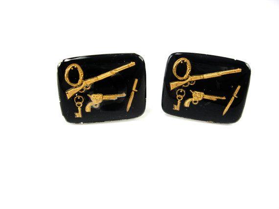 Vintage Reverse Paint Cufflinks Gun Rifle by NeatstuffAntiques, $70.00
