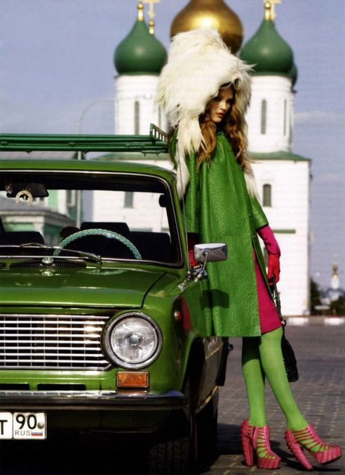 Vlada Roslyakova by KT Auleta, Vogue Russia September 2007. Coat and hat fromChristian Dior