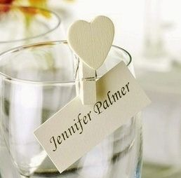 Mini heart pegs, perfect for wedding table placement