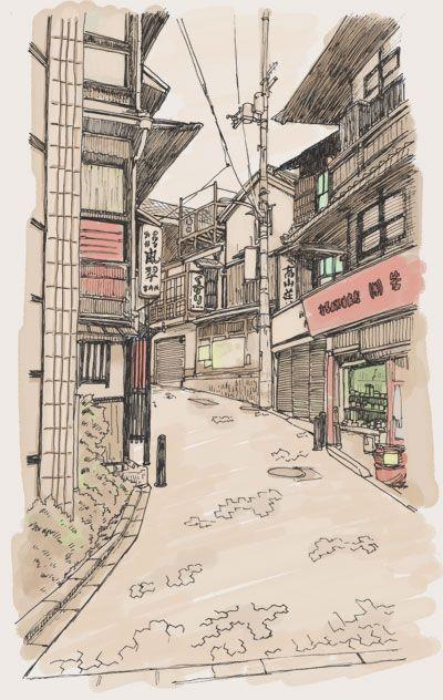 Arima Onsen, Kobe, Japan 有馬温泉 (イラスト: 月光園 林さん)