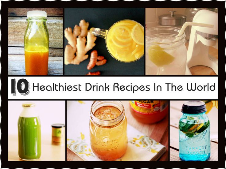 10 Healthiest Drink Recipes In The World. Some of the ingredients that are used multiple times in different recipes are lemon, apple cider vinegar and turmeric!