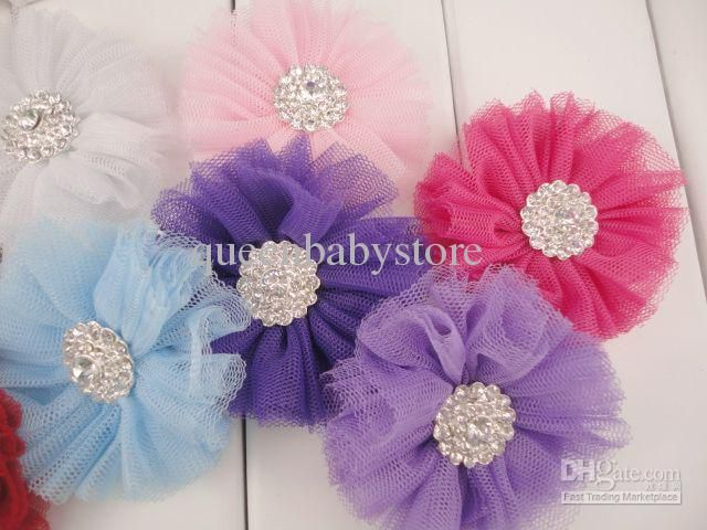 Cheap Tulle Flower - Cute Trial Order Baby Tulle Hair Clips Shiny ...