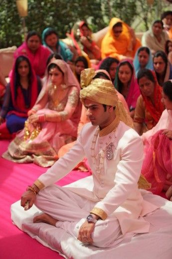 Indian Groom Wear - A Delhi affair with a charming duo: Ankit and Gurveen | WedMeGood #wedmegood