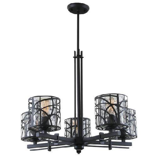 DVP5925GR-WTr River Heights 5Lt chandelier New Black Water Glass