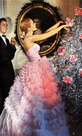Fluffy pink party dress, silver tinsel Christmas tree by tonia