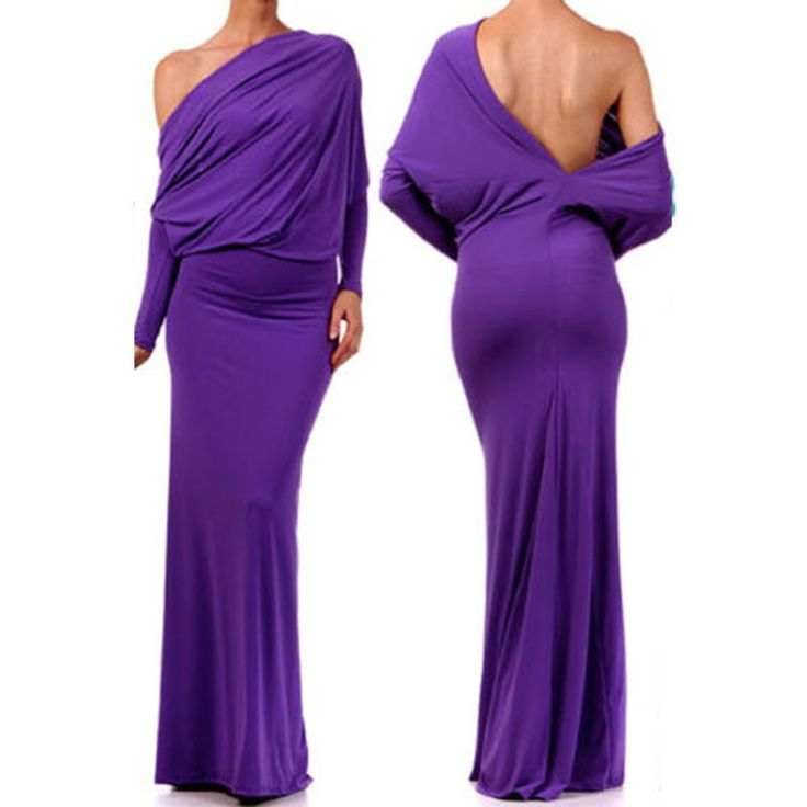2016 Summer Solid Color Cheap Maxi Dress Long Sleeve One Shoulder Backless Convertible Multiway Jersey Bodycon Over Hip Dresses