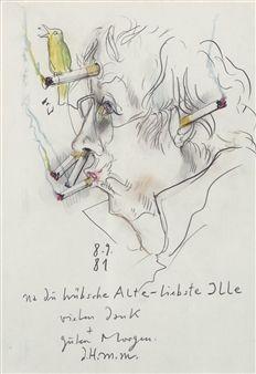 na du hübsche Alte - liebste Ille.. (Selbstbildnis). By Horst Janssen ,1981