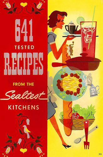 641 tested recipes from the Sealtest Kitchens. #vintage #cookbooks #illustrations