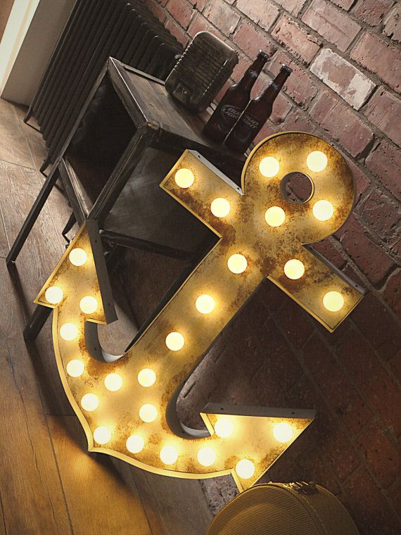 Large Illuminated Anchor Marquee Light by LamplightDesignCo