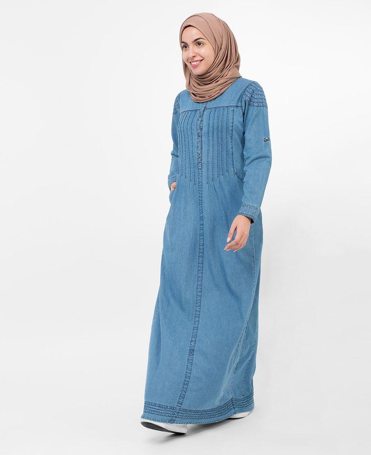 Pleated Denim Jilbab