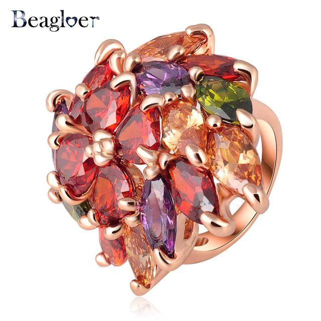 Beagloer Мода Красочные Цветочные Формы Кристалл Кольцо Розовое Золото Plate Преувеличенные Кольца Для Женщин 22*36 мм Ri-HQ0271