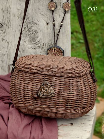 """Женские сумки ручной работы. Ярмарка Мастеров - ручная работа. Купить сумочка-саквояж плетеная """"Бохо""""-шоколад.…"""