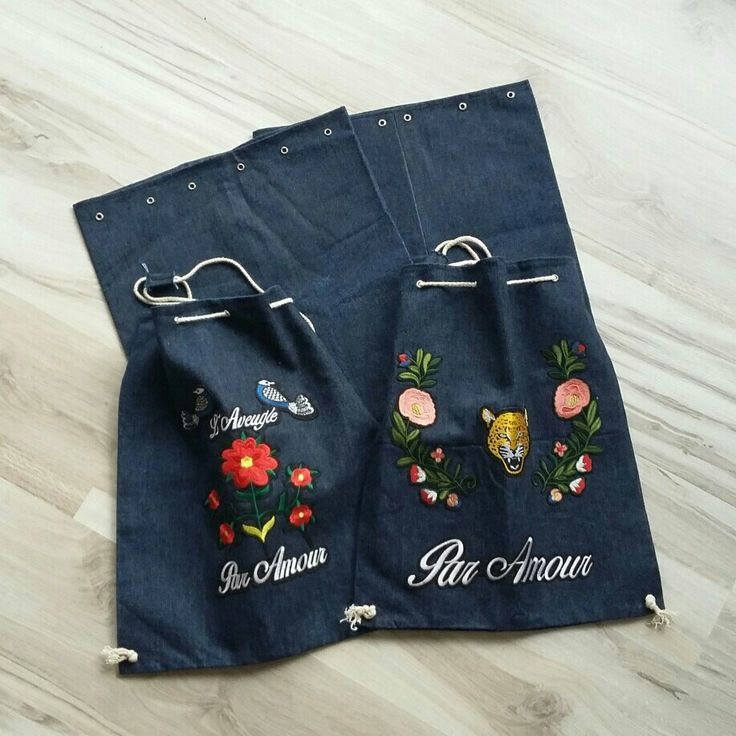 Stylish drawstrings backpacks inspired by Gucci ♡☆♡ #madewithunicorns #etsy shop handmade denim jeans drawtring bucket backpack shopping school work job urban street ethnic floral gucci