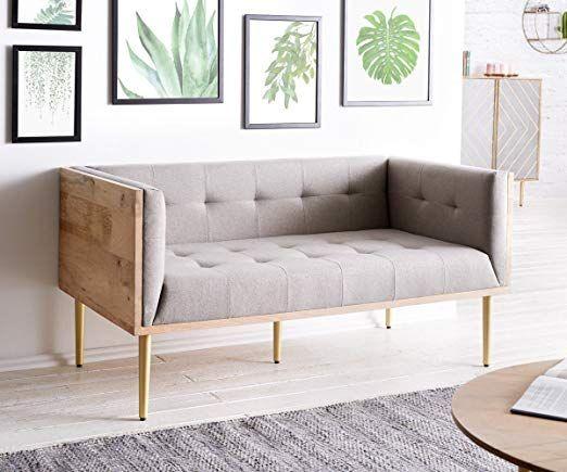 Affiliatelink Delife Couch Metropolitan Grau 140x73 Cm Mango Natur