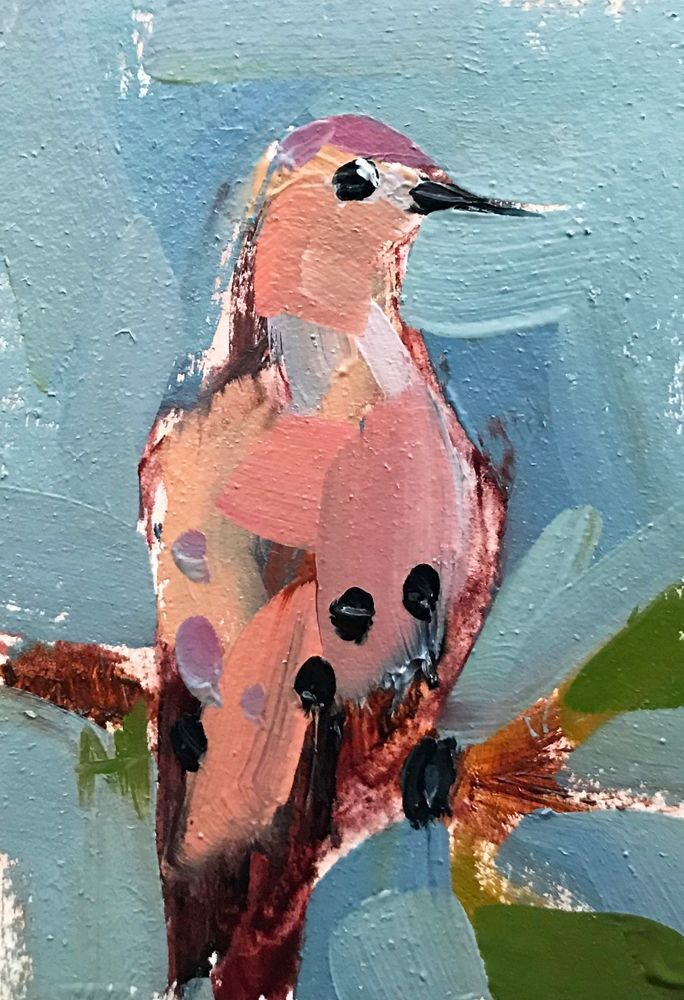Mourning Dove no. 5 Original Bird Oil Painting by Angela Moulton ACEO Art #Impressionism