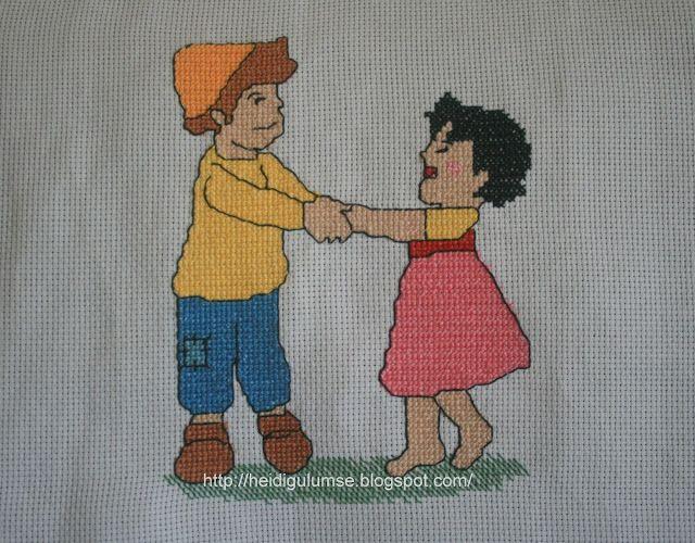 Heidi und Peter cross stitch kanaviçe