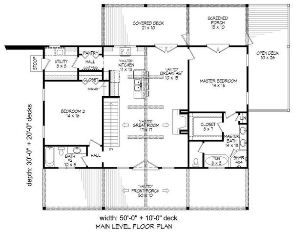 Country Style House Plan 2 Beds 2 Baths 1500 Sq Ft Plan