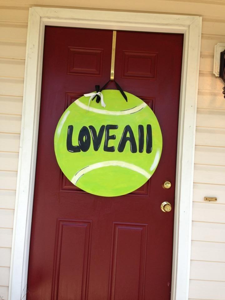 My mom's tennis ball door hanger! Super cute