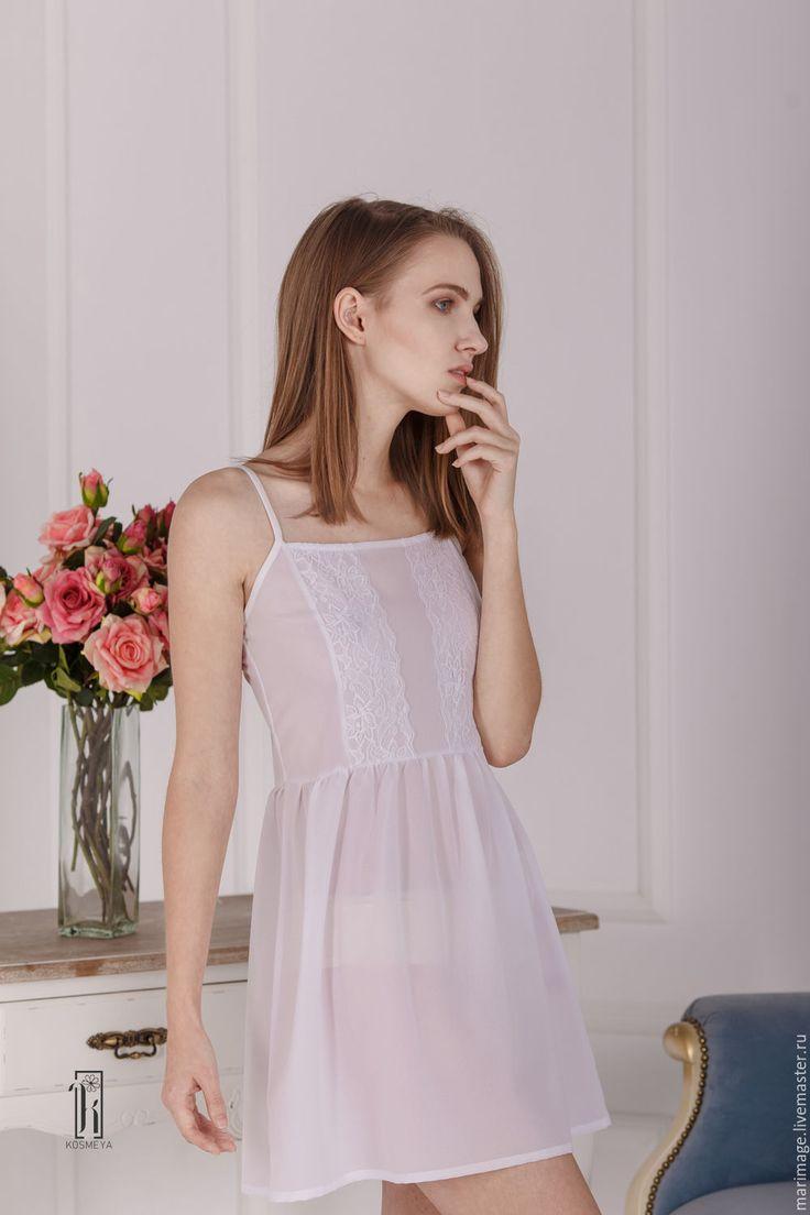 Купить Белая ночная сорочка - белый, однотонный, шифон, прозрачный, подарок, подарок девушке, свадьба