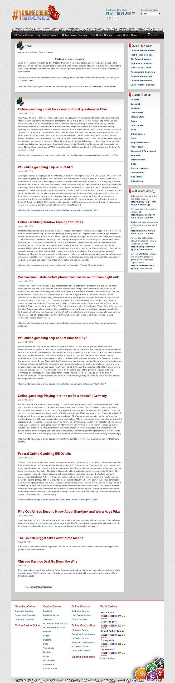 Online Casino News from 1onlinecasino.com