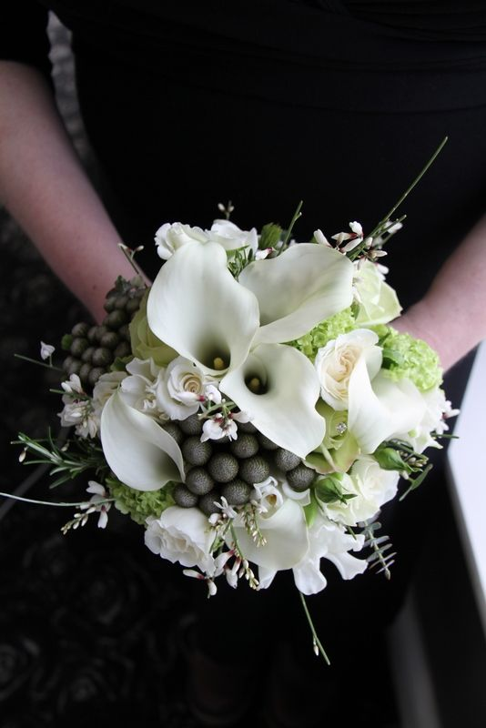 Bridesmaids Bouquet of white Calla Lilies, Sweet Peas and Roses