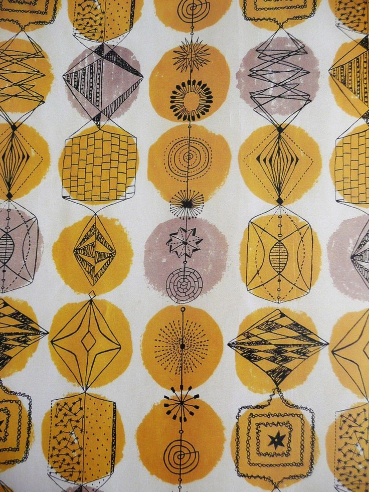 1952: A detail from Lucienne Day's 'Miscellany' fabric, manufactured by British Celanese