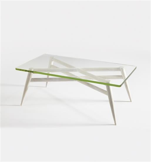 Lina Bo Bardi; Bleached and White-Stained Maple & Glass Coffee Table, c1942.