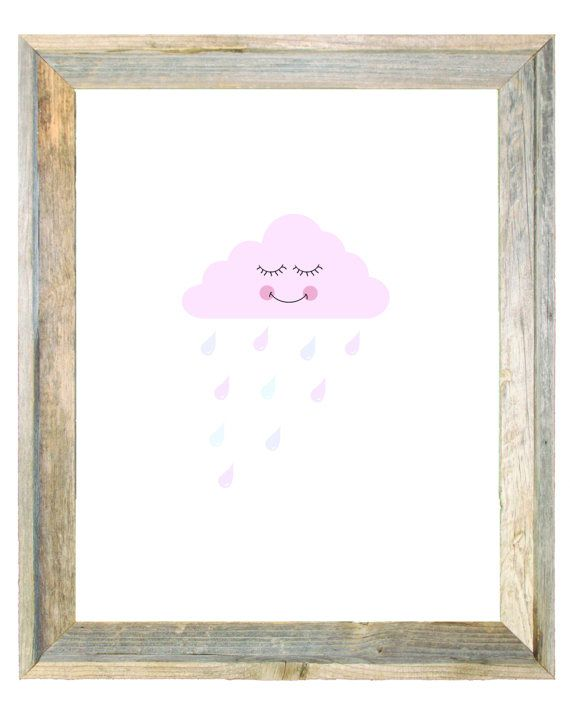 Rain Cloud with Raindrops Baby Pink Purple Art by IslaKateDesigns