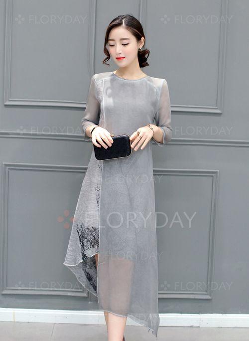 Kleider - $45.47 - Seide Blumen 3/4 Ärmel Asymmetrische Lässige Kleidung Kleider (1955101434)