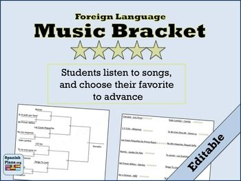 Updated Bracket for 2016. Includes template for 12 song or 16 song bracket. Plus ideas for 13 activities to use with any song.