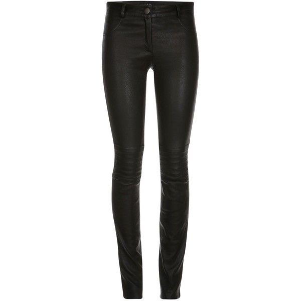 ELLESD - Zahra Leather Stretch Pants ($740) ❤ liked on Polyvore featuring pants, bottoms, evening pants, leather pants, leather biker pants, black skinny pants and stretchy pants