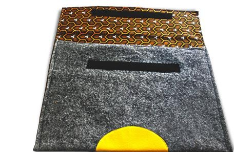 Orange Shweshwe Workplay Laptop Sleeve by MeBags on Citymob.co.za 10and5.com Pop-up Shop