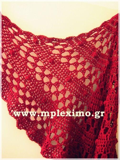 crochet red half moon shawl