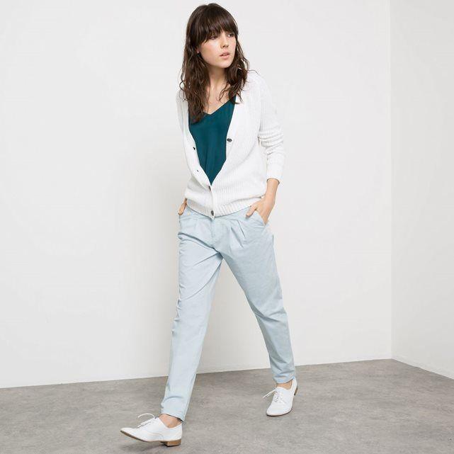 Pantalon chino à pinces coton couleur pastel parfait pour l'été