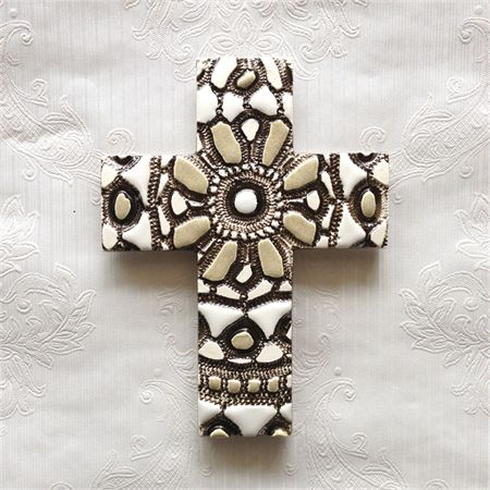 Handcrafted and decorated Ceramic Wall Cross.  Available on madeit.com.au