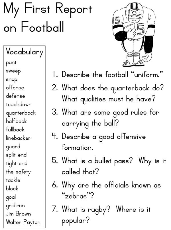 "Get your kids to write by passing them the ball. Use this FREE football worksheet to answer questions and pull it together into a report. They'll surprise themselves, and you! More instructions available in ""My First Report: Sports"" here: http://buff.ly/1DoDi6W"