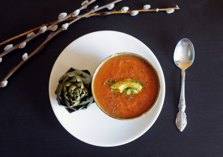 Roasted Tomato and Red Pepper Soup | Red Pepper Soup, Roasted Tomatoes ...