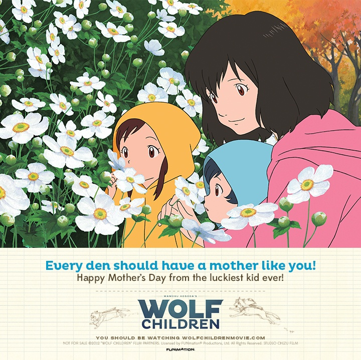 Wolf Children Mothers Day Cards