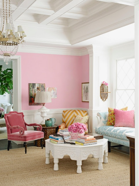 What better hue than hot pink for a punch of color in the living ...