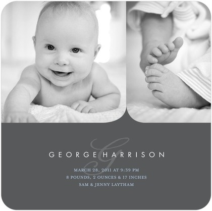 Boy Photo Birth Announcements Coved Corners - Front : Charcoal